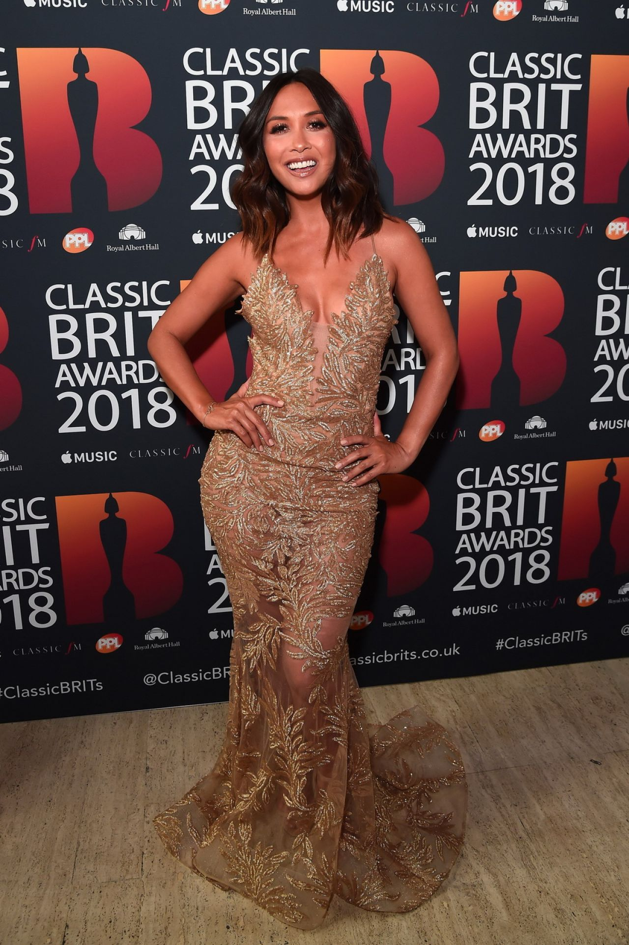 myleene klass  u2013 2018 classic brit awards in london