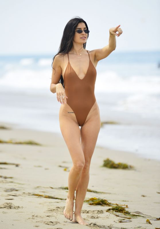 Nicole Williams in a Brown Swimsuit at Laguna Beach 06/18/2018