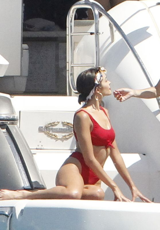 Olivia Culpo in a Red Bikini - Relaxes on a Yacht in Formentera 06/26/2018