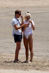 Pixie Lott in a White Swimsuit - Beach Day in Los Angeles 06/25/2018