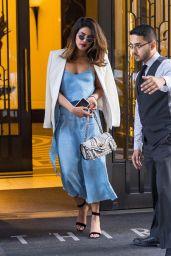 Priyanka Chopra in a Blue Dress - New York City 06/12/2018