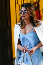 Priyanka Chopra in a Blue Dress - New York City 06/12/2018