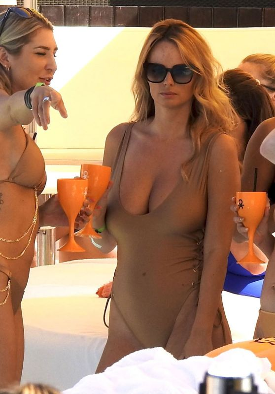 Rhian Sugden in a Gold Swimsuit at Ibiza