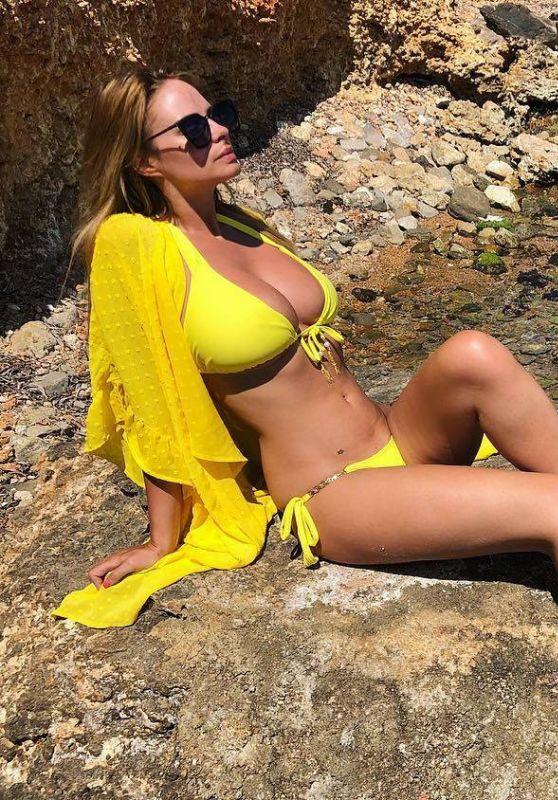 Rhian Sugden in a Yellow Bikini - Ibiza 06/17/2018