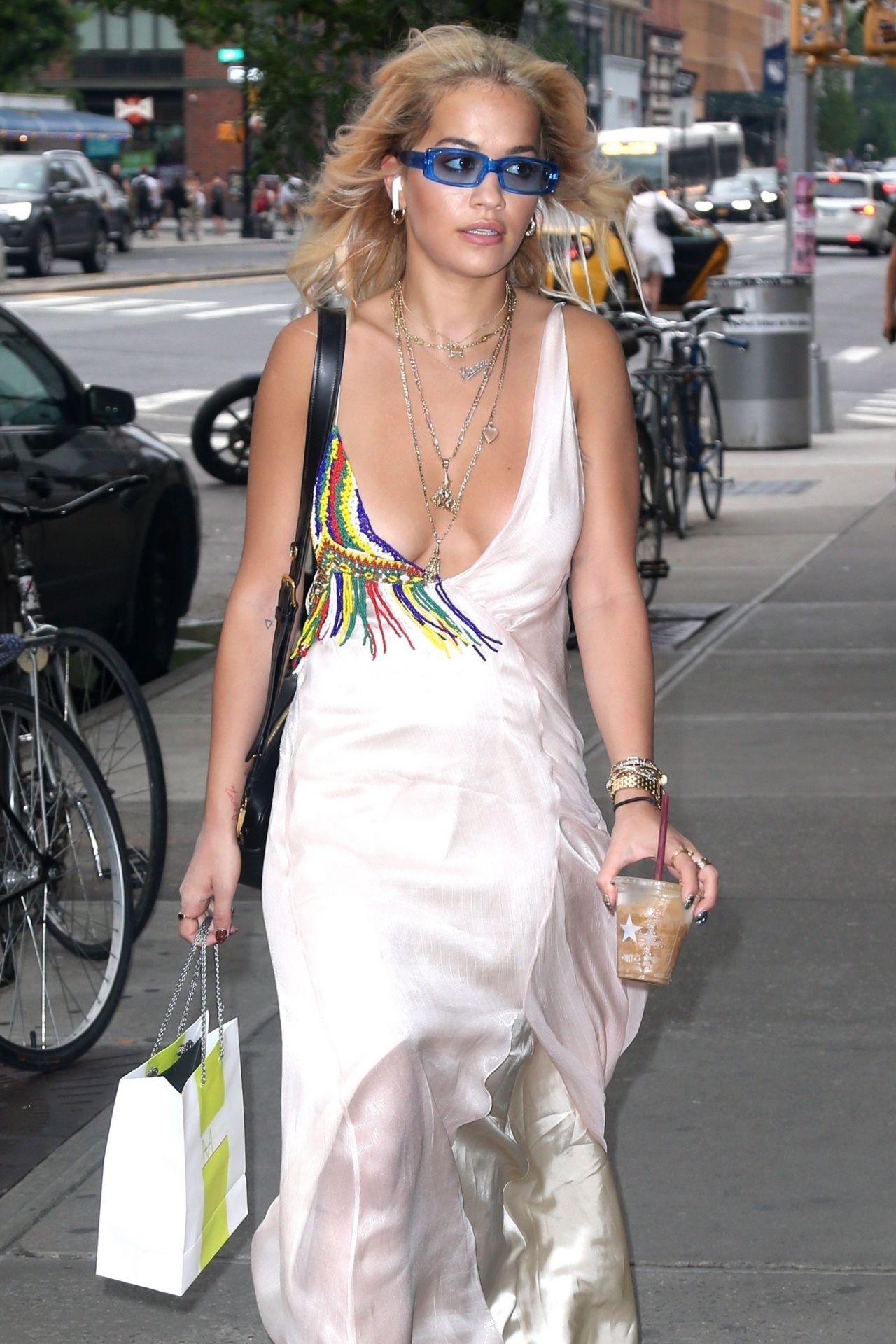 Rita Ora Braless In Low Cut Silk Dress New York City 06