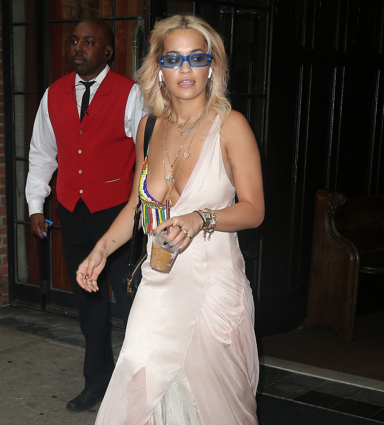 Rita Ora Braless In Low Cut Silk Dress New York City 06
