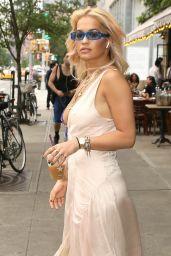 Rita Ora Braless in Low-Cut Silk Dress - New York City 06/18/2018