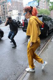 Rita Ora in a Canary Yellow Sweatsuit - Out in NYC 06/13/2018