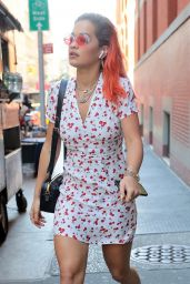 Rita Ora in a Cherry Patterned Dress and White Sneakers - New York City 06/14/2018