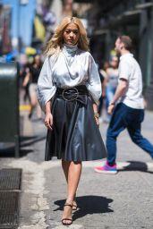 Rita Ora in a Silver Nina Ricci Dress in New York City 06/16/2018