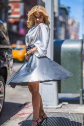 Rita Ora in a Silver Nina Ricci Dress in New York City 06/16/2018