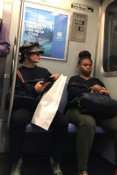 Vanessa Hudgens - Tries to Go Incognito as she Rode the NYC Subway 06/27/2018