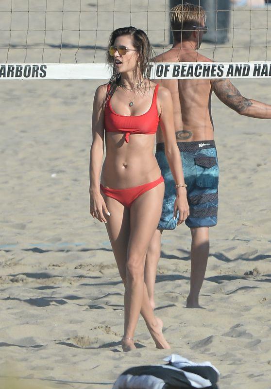 Alessandra Ambrosio in Bikini on the Beach in Santa Monica 07/22/2018