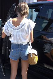 Alessandra Ambrosio in Jeans Shorts at Brentwood Country Mart in Brentwood 07/20/2018