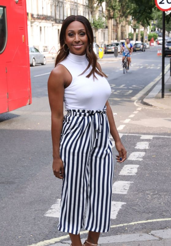 Alexandra Burke in Stipes in West London 07/19/2018