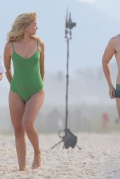 Ana de Armas in a Green Swimsuit at the Beach in Rio
