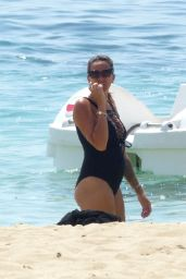 Angel Flukes in a Black Swimsuit on a Beach in Palma, Spain 07/12/2018