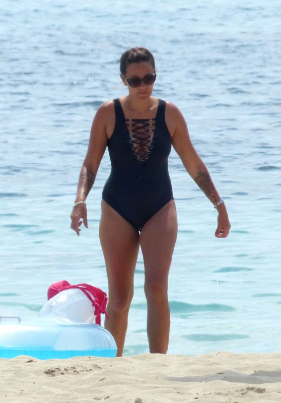 Angel Flukes in a Black Swimsuit on a Beach in Palma, Spain 07/12/2018