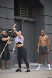 Ashley Graham and Justin Ervin Work Out at The Dogpound Gym in Manhattan