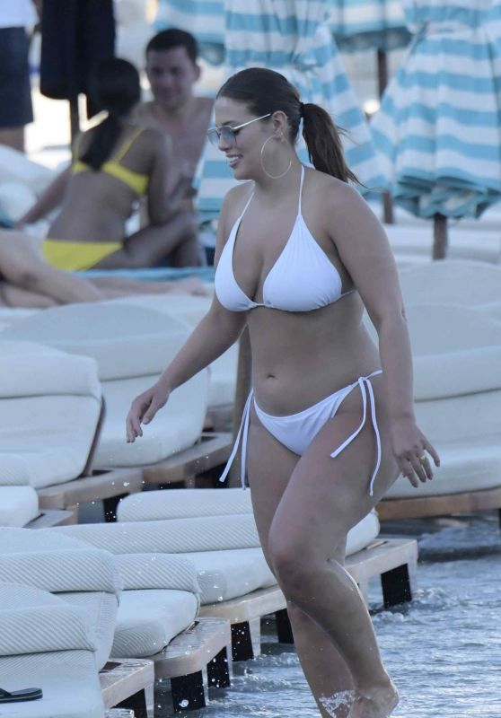 Ashley Graham in a White Bikini at the beach in Miami 07/15/2018