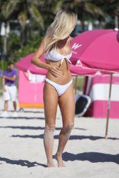 Baskin Champion in a White Bikini on Miami Beach 07/13/2018