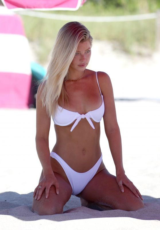 Baskin Champion in a White Bikini on Miami Beach 07/13/2018