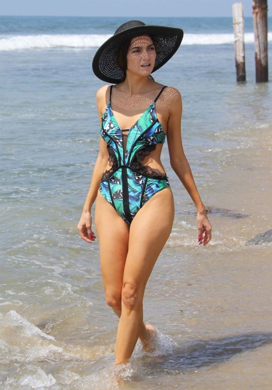Blanca Blanco in Swimsuit Strolling Along the Beach in Malibu