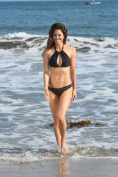 Brooke Burke in a Black Bikini on the Beach in Malibu 07/22/2018