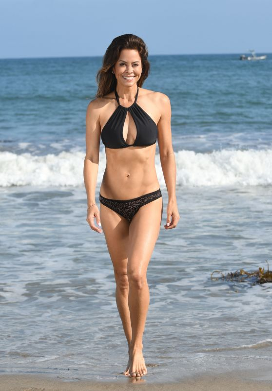 Brooke Burke in a Black Bikini on the Beach in Malibu 07/22/2018