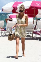 Charlotte McKinney Leggy in Summer Mini Dress on the Beach in Malibu 07/16/2018