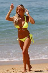 Chloe Meadows in a Yellow Bikini on a Beach in Portugal 07/18/2018