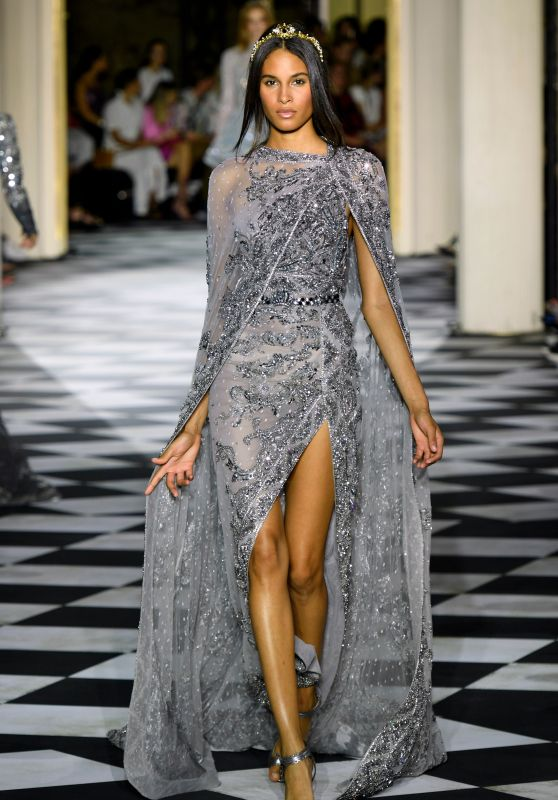 Cindy Bruna Walking Zuhair Murad Show, PFW in Paris 07/04/2018