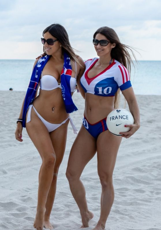Claudia Romani and Anais Zanotti in Bikinis - Ready Themselves for France vs. Uruguay