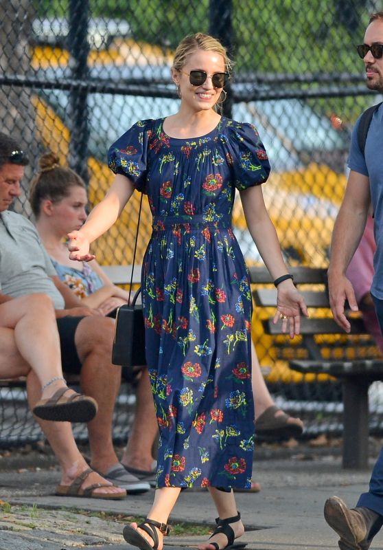 Dianna Agron in Long Summer Dress in NYC 07/18/2018