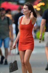 Emily Ratajkowski in a Red Dress in New York City 07/26/2018