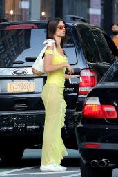 Emily Ratajkowski in a Sheer Yellow Maxi Dress and Bodysuit - Manhattan 07/19/2018