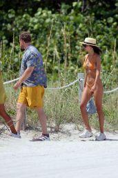 Emily Ratajkowski in an Orange Bikini at the Beach in Miami 07/21/2018