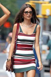 Emily Ratajkowski in Summer Mini Dress - NYC 07/16/2018