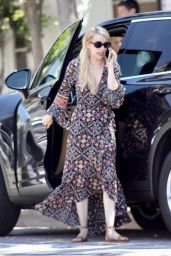 Emma Roberts in a Bohemian Style Dress - Shopping in West Hollywood 07/25/2018