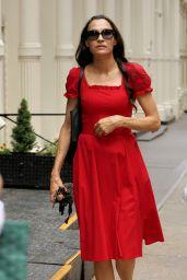 Famke Janssen in a Red Dress - Soho, NYC 07/26/2018