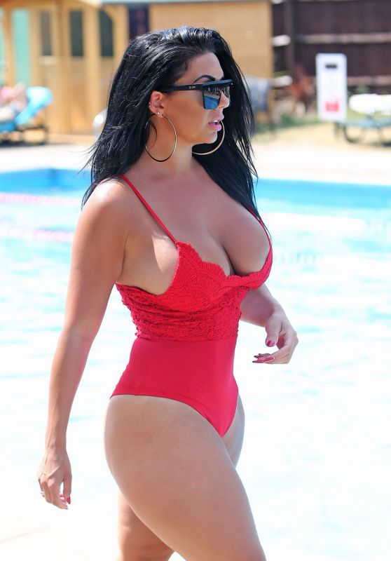 Grace J Teal in a Red Baywatch Swimsuit in Southend