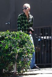 Hailey Baldwin in Oversized Jeans and a Large Flannel Shirt in West Hollywood