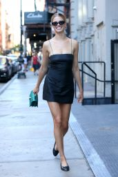 Hailey Clausen in a Mini Black Dress - Leaving Lure Fishbar in Soho NYC 07/07/2018