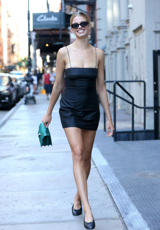 Hailey Clausen in a Mini Black Dress - Leaving Lure Fishbar in Soho NYC 07/07/2018