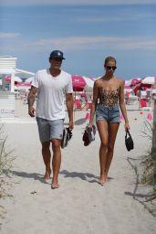 Hailey Clauson in Bikini - Having Fun on the Beach in Miami 07/15/2018
