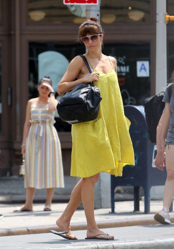 Helena Christensen in a Yellow Sun Dress - NYC 07/27/2018