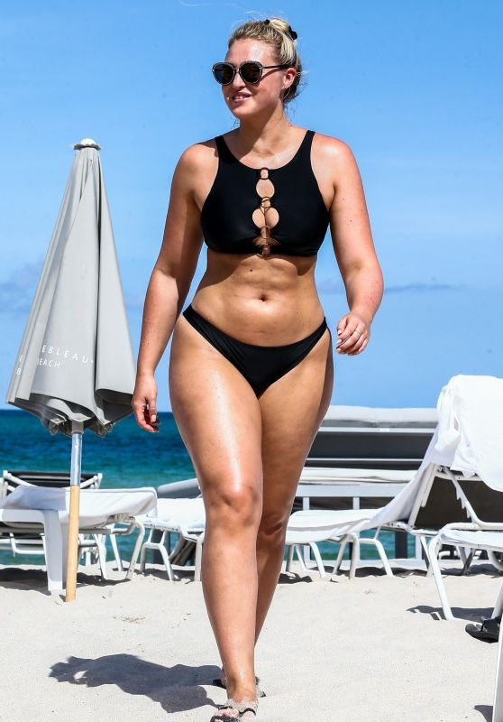 Iskra Lawrence in a Black Bikini on the Beach in Miami 07/12/2018