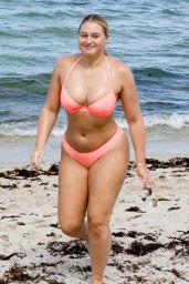 Iskra Lawrence in a Pink Bikini on the Beach in Miami 07/13/2018