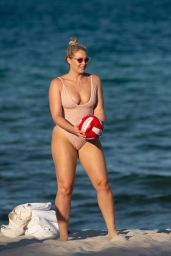 Iskra Lawrence in a Pink Swimsuit in Miami Beach 07/14/2018