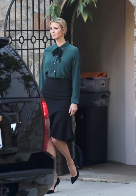 Ivanka Trump in Black Skirt - Departs Home in Washington